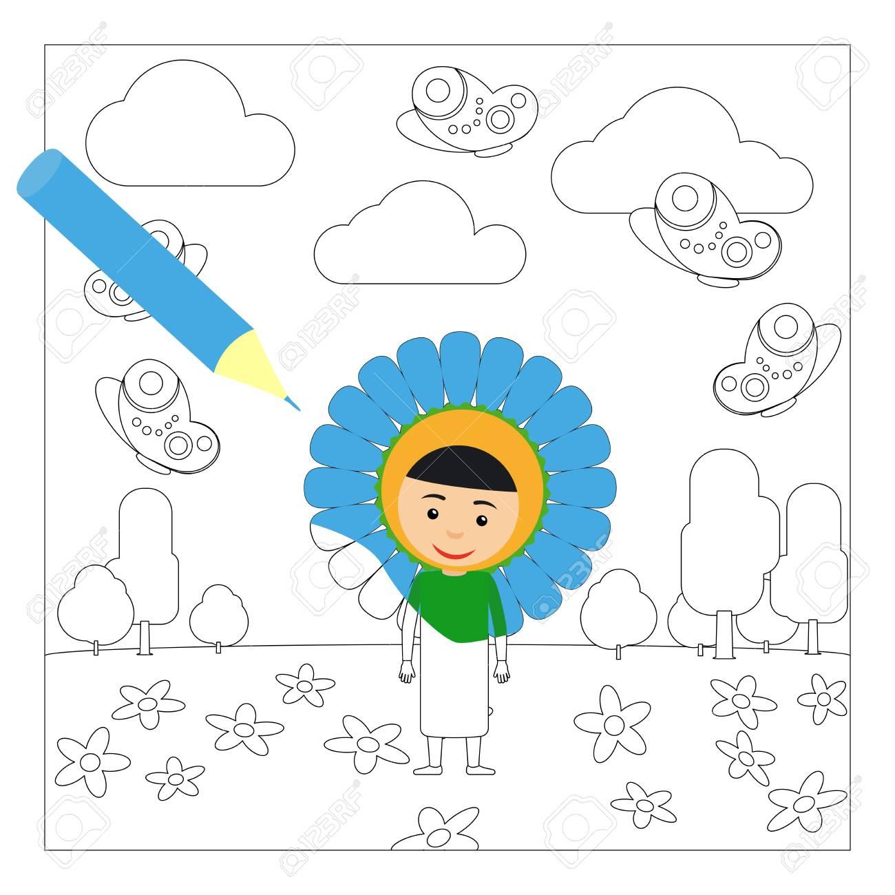 Niño Con Elegante Vestido De Flores En El Jardín De Infantes Página Para Colorear Para Niños Ilustración Vectorial