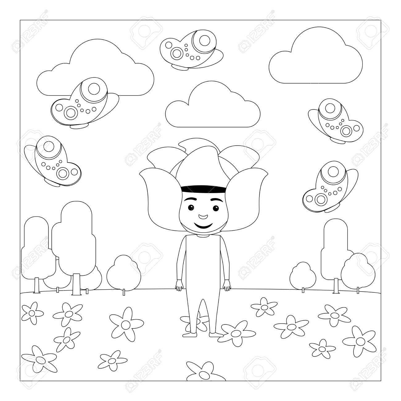 Enfant En Robe A Fleurs Fantaisie A La Maternelle Coloriage Pour Les Enfants Illustration Vectorielle Clip Art Libres De Droits Vecteurs Et Illustration Image 64416526