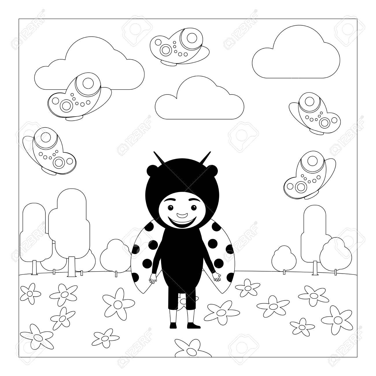 Niño En Elegante Vestido De Insecto Laduybug En El Jardín De Infantes Página Para Colorear Para Niños Ilustración Vectorial