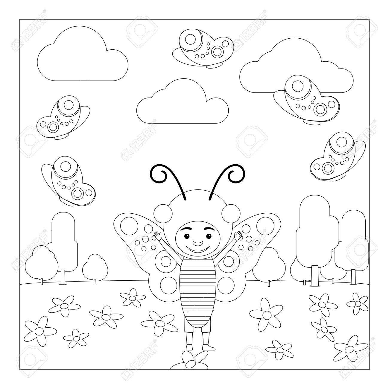 Kid En Robe Dinsecte De Fantaisie à La Maternelle Coloriage Pour Les Enfants Vector Illustration