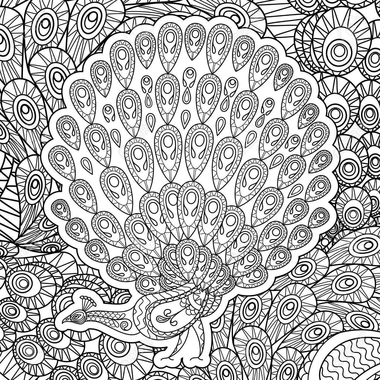 Excepcional Página Para Colorear De Cuerpo De Pavo Motivo - Dibujos ...