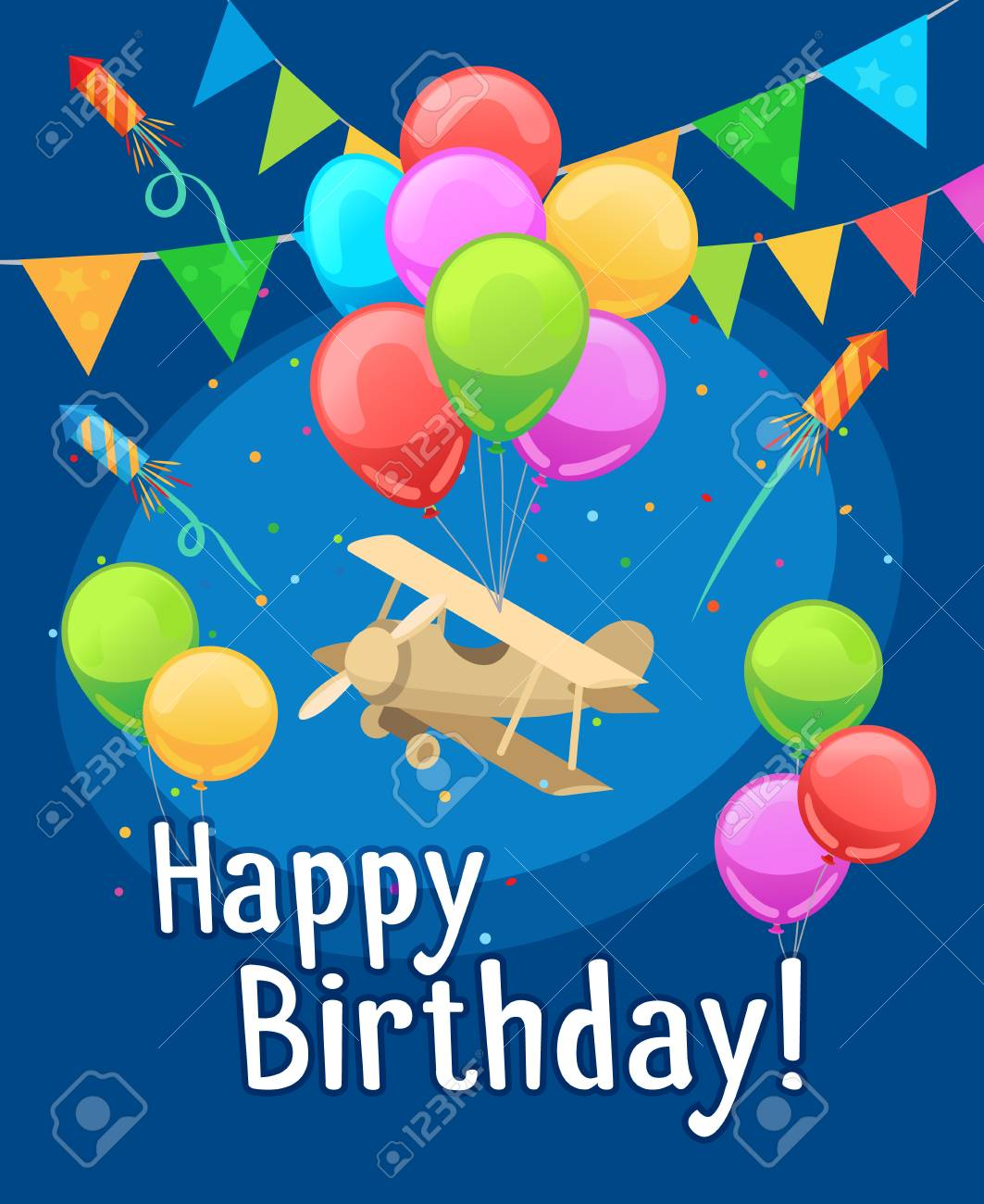 Kids Party Card Template Children Happy Birthday With Balloons And Airplane Vector Illustration