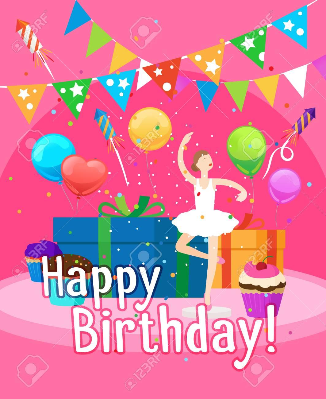 Plantilla De Tarjeta De Invitación De Feliz Cumpleaños Para Niña Con Ilustración De Vector De Bailarina Y Globos