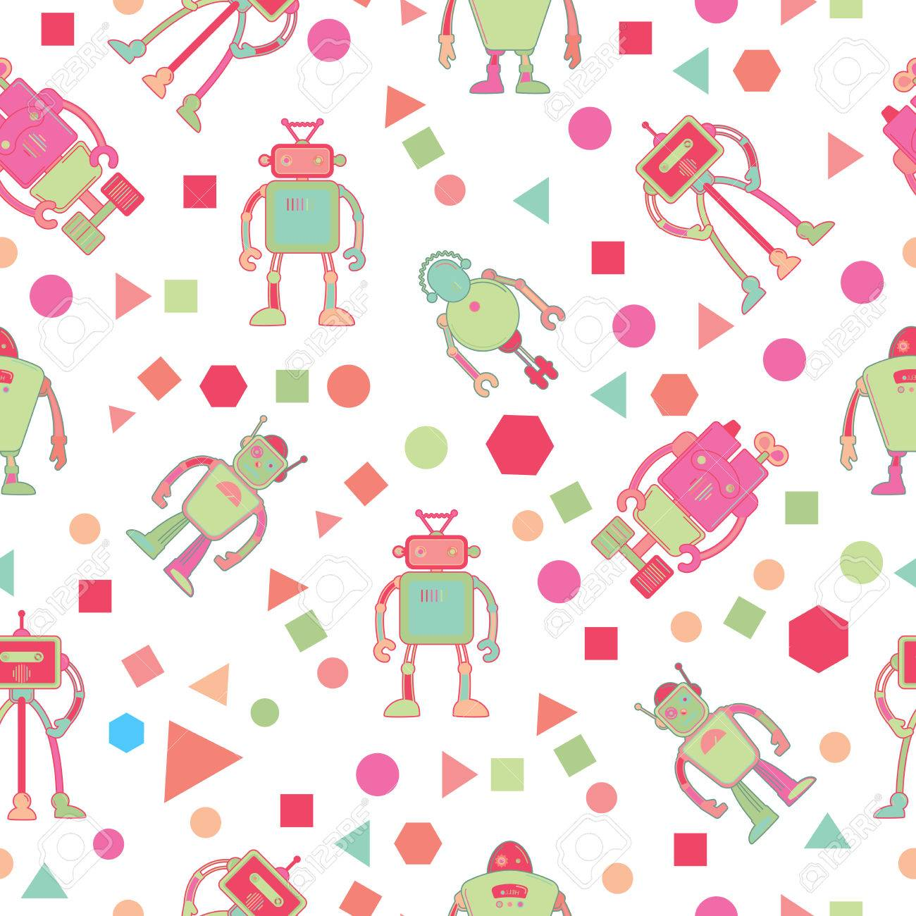 Seamless Pattern For Kids Wallpaper Design With Robots And Geometric Shapes Vector Illustration Stock