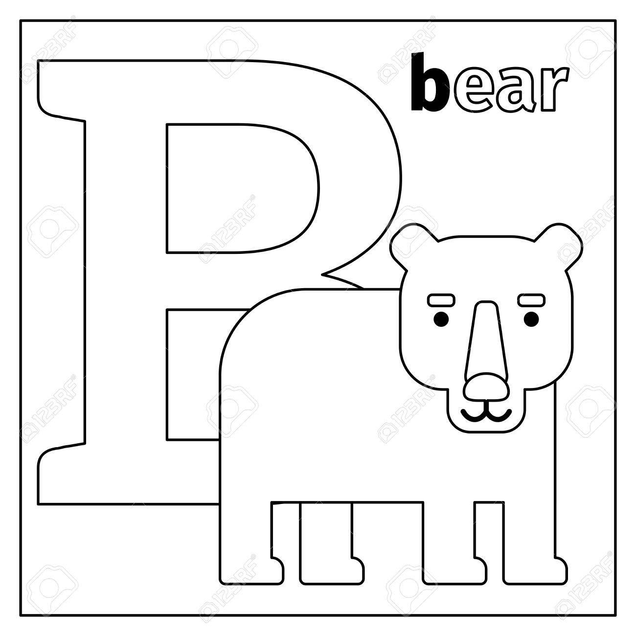 Dibujo Para Colorear O Tarjeta Para Niños Con Alfabeto Inglés Zoológico De Animales Oso Letra B Ilustración Vectorial