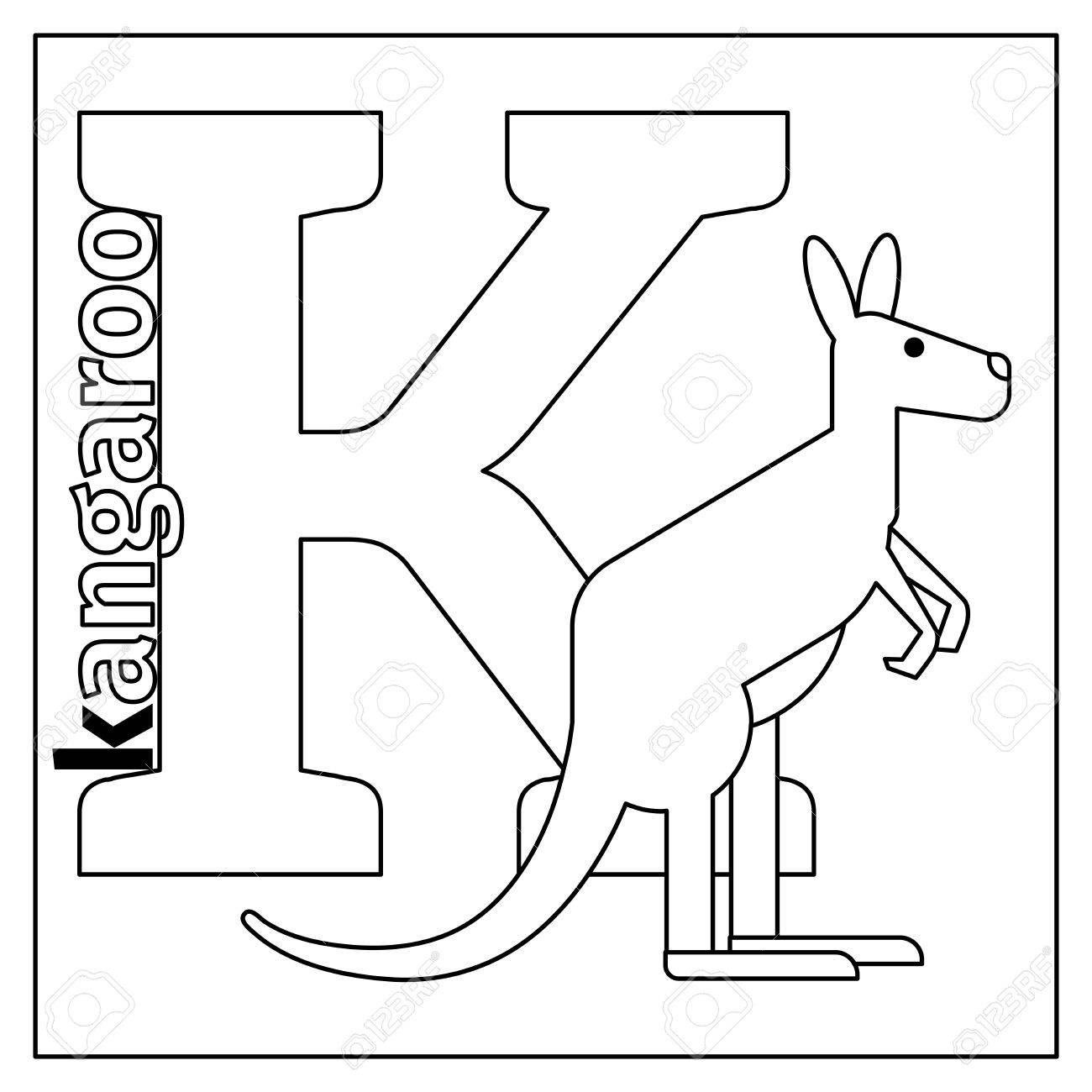 Coloring Page Or Card For Kids With English Animals Zoo Alphabet Kangaroo Letter K