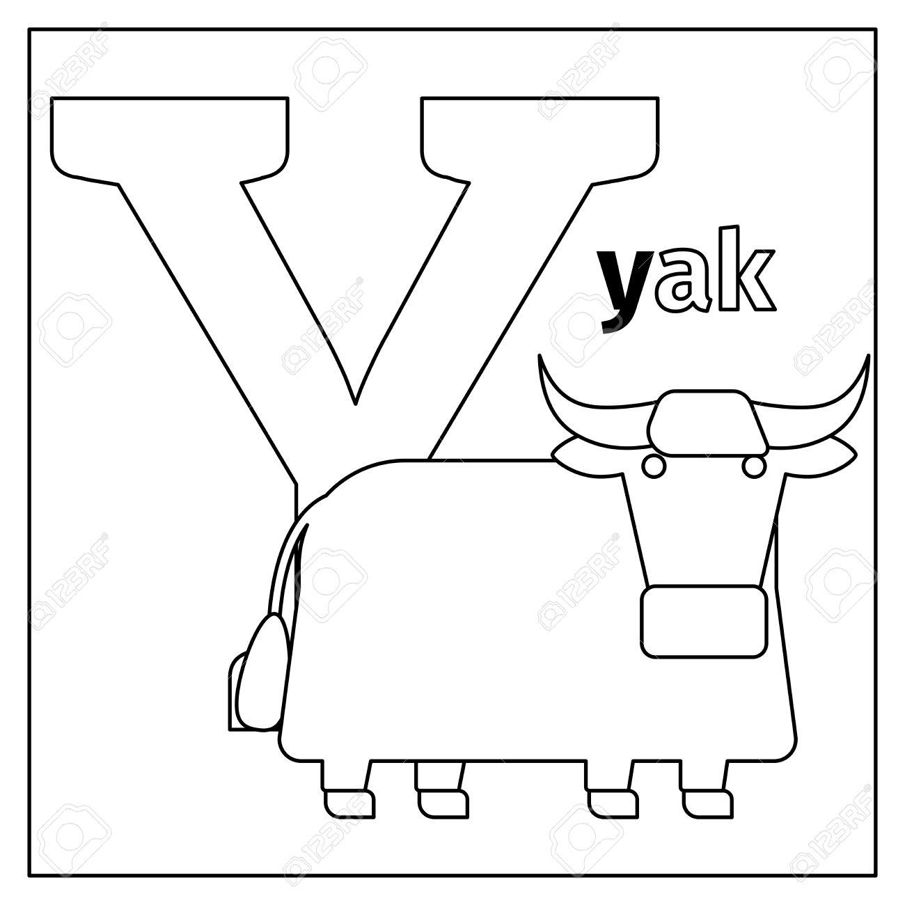 Kleurplaat Of Kaart Voor Kinderen Met Engels Dieren Dierentuin Alfabet Yak Letter Y Vector Illustratie