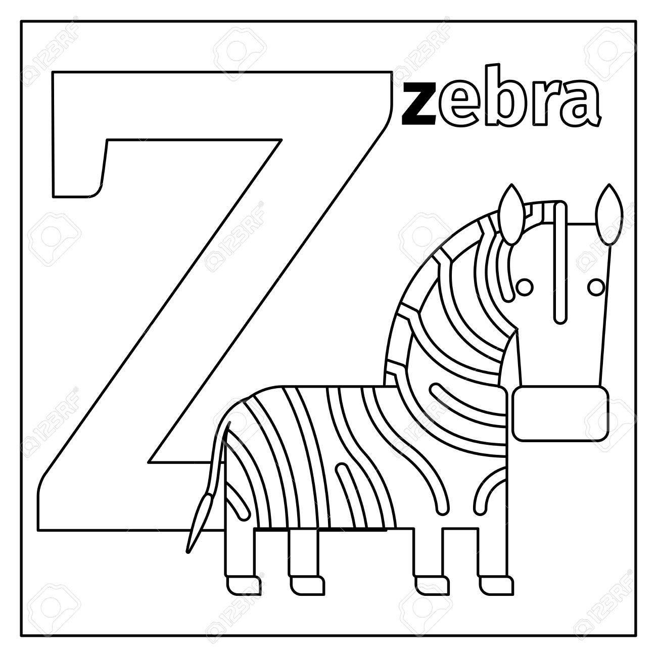 Malvorlage Oder Karte Für Kinder Mit Englischen Tieren Zoo Alphabet ...