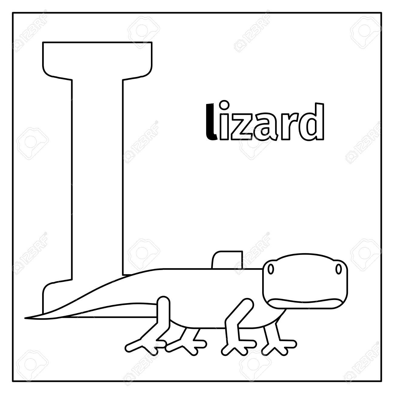 Dibujo Para Colorear O Tarjeta Para Los Niños Con Alfabeto Inglés Animales Del Zoo Letra L Ilustración Vectorial Lizard