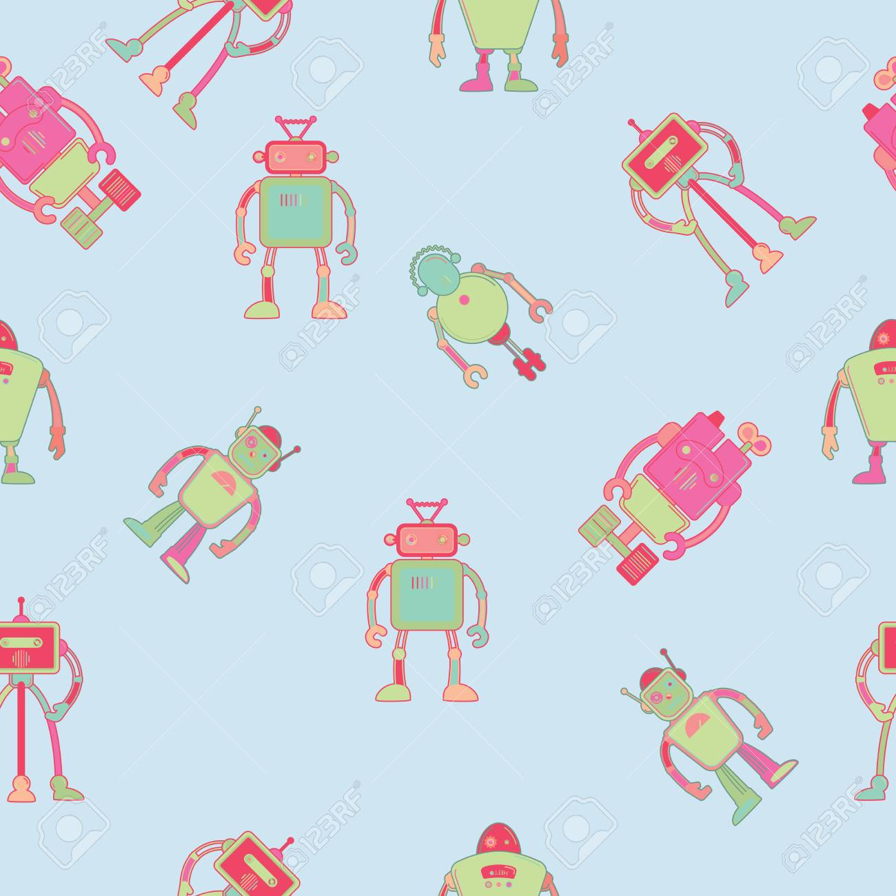 Seamless Pattern For Kids Wallpaper Design With Robots Vector Illustration Stock