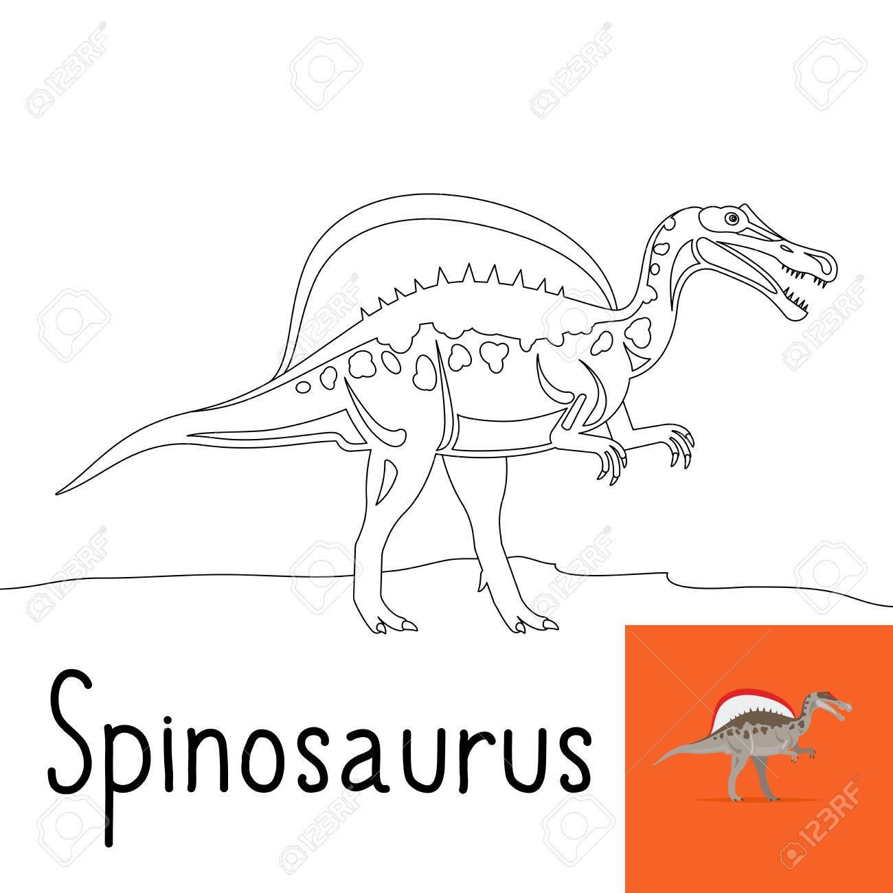 Dibujo Para Colorear Para Los Niños Con Spinosaurus Dinosaurio Y