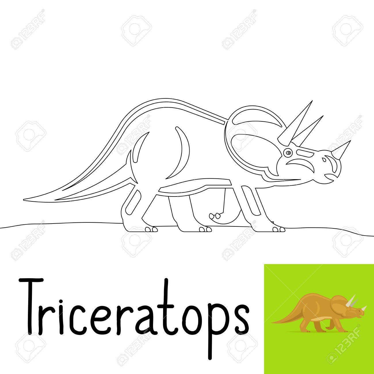 Dibujo Para Colorear Para Los Niños Con Triceratops Dinosaurio Y ...