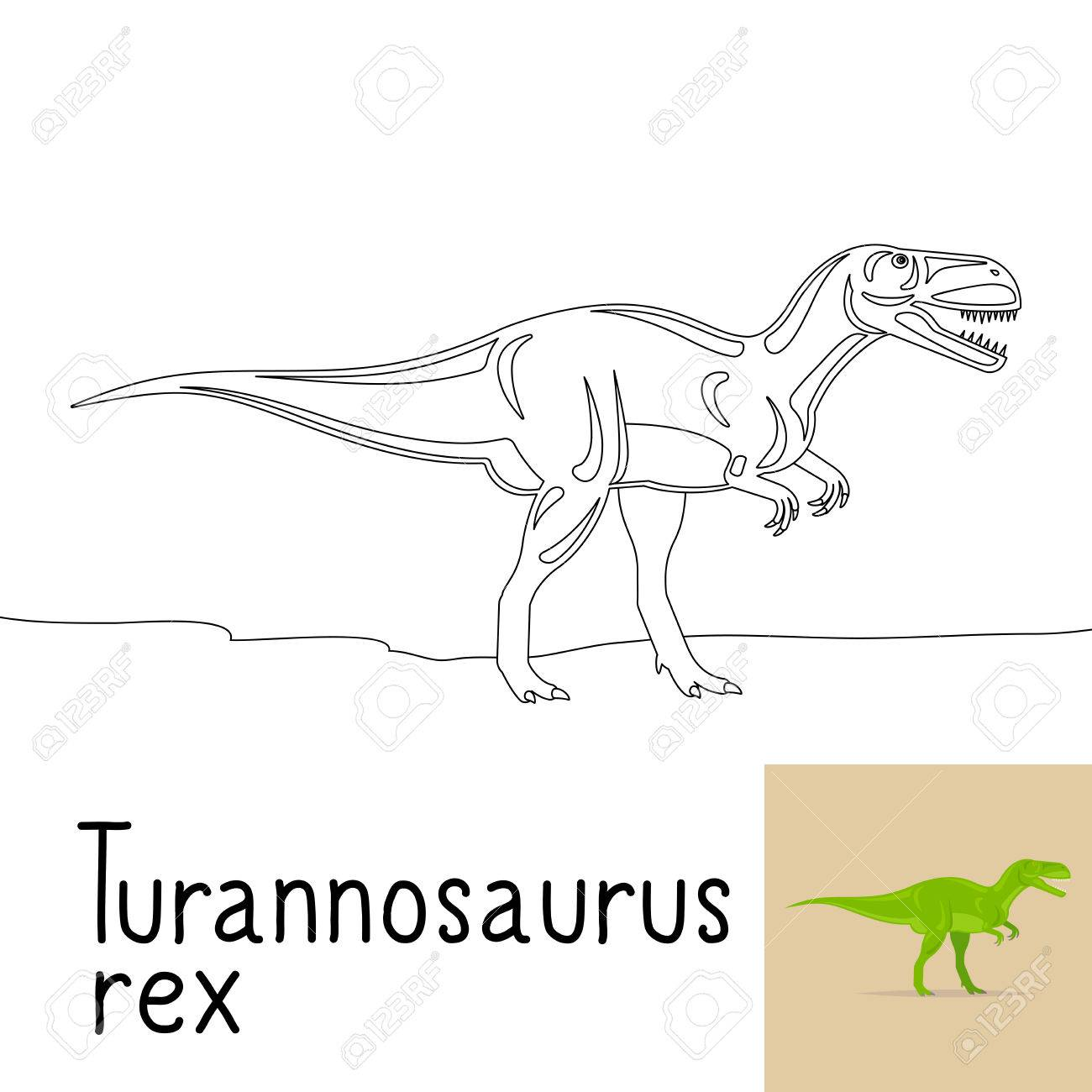 Dibujo Para Colorear Para Los Niños Con Turannosaurus Dinosaurio Rex ...