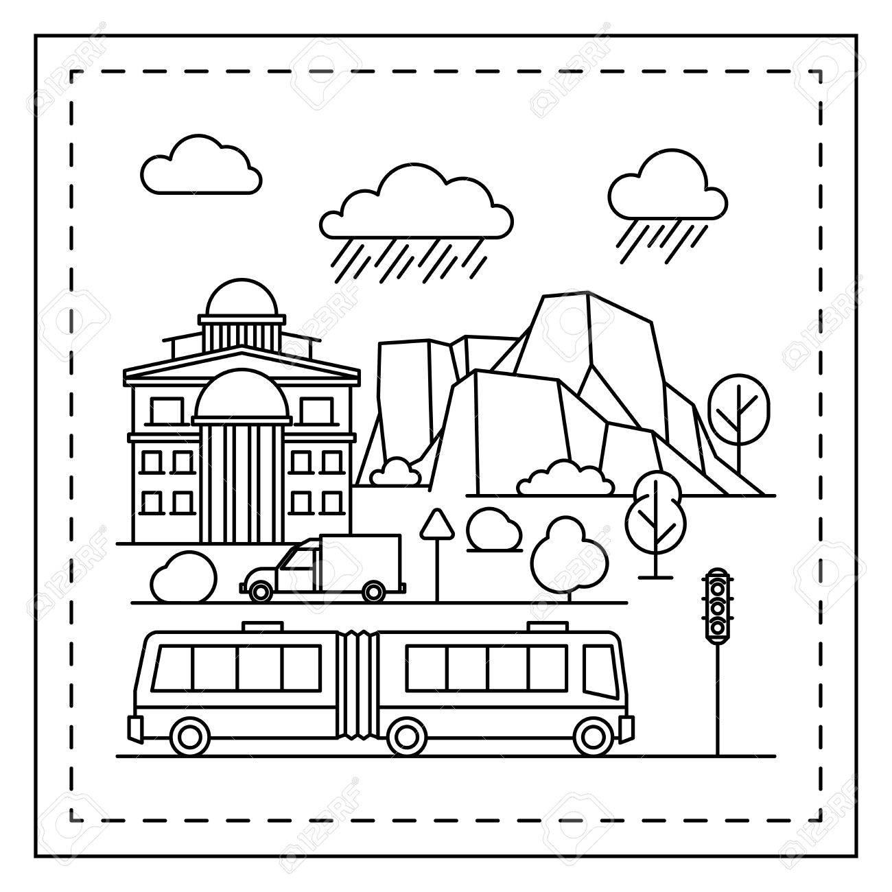 Malvorlage Für Kinder Mit Häusern, Bäumen, Bergen, Trolleybus Und ...