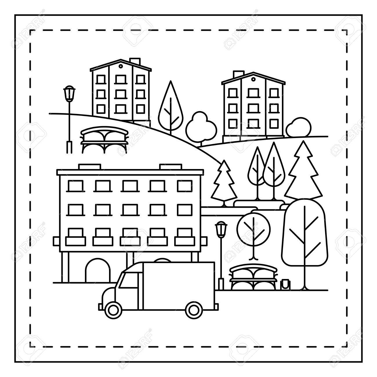 Malvorlage Für Kinder Mit Stadtlandschaft, Häuser, LKW Und Bäume ...