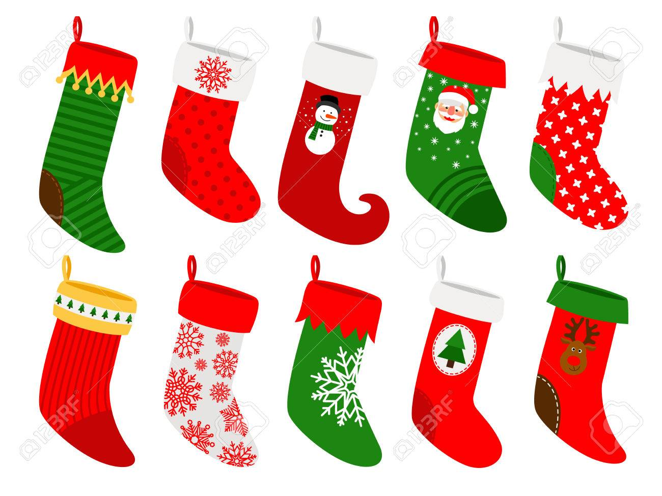 Christmas Socks. Vector Striped Hanging Stockings With Snowflakes ...
