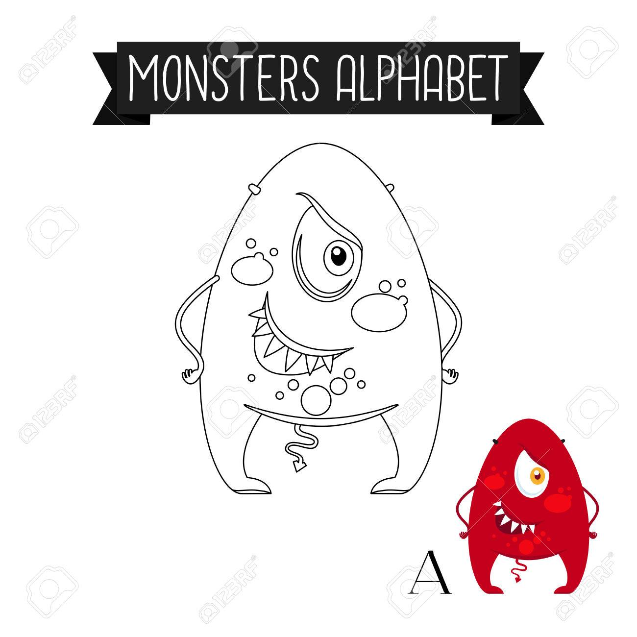 Malvorlage Monster Alphabet Für Kinder. Buchstabe A Vecor Abbildung ...
