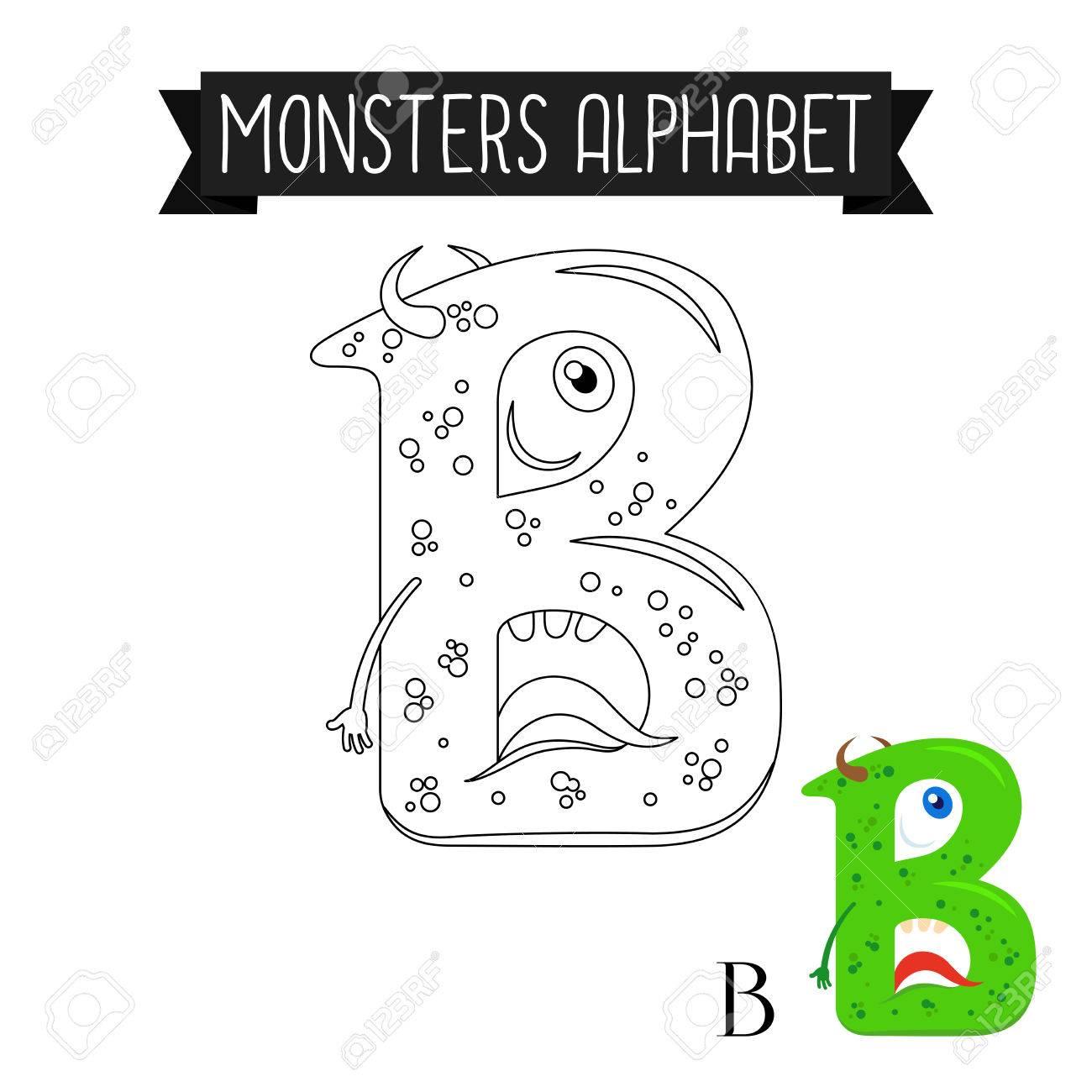 Malvorlage Monster Für Kinder Alphabet. Buchstabe B Vektor-Abbildung ...