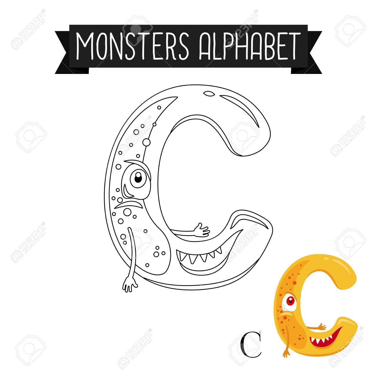 Alfabeto De Monstruos De Página Para Colorear Para Niños ...