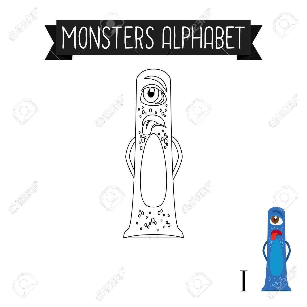 Malvorlage Monster Alphabet Für Kinder . Ich Liebe Vektor