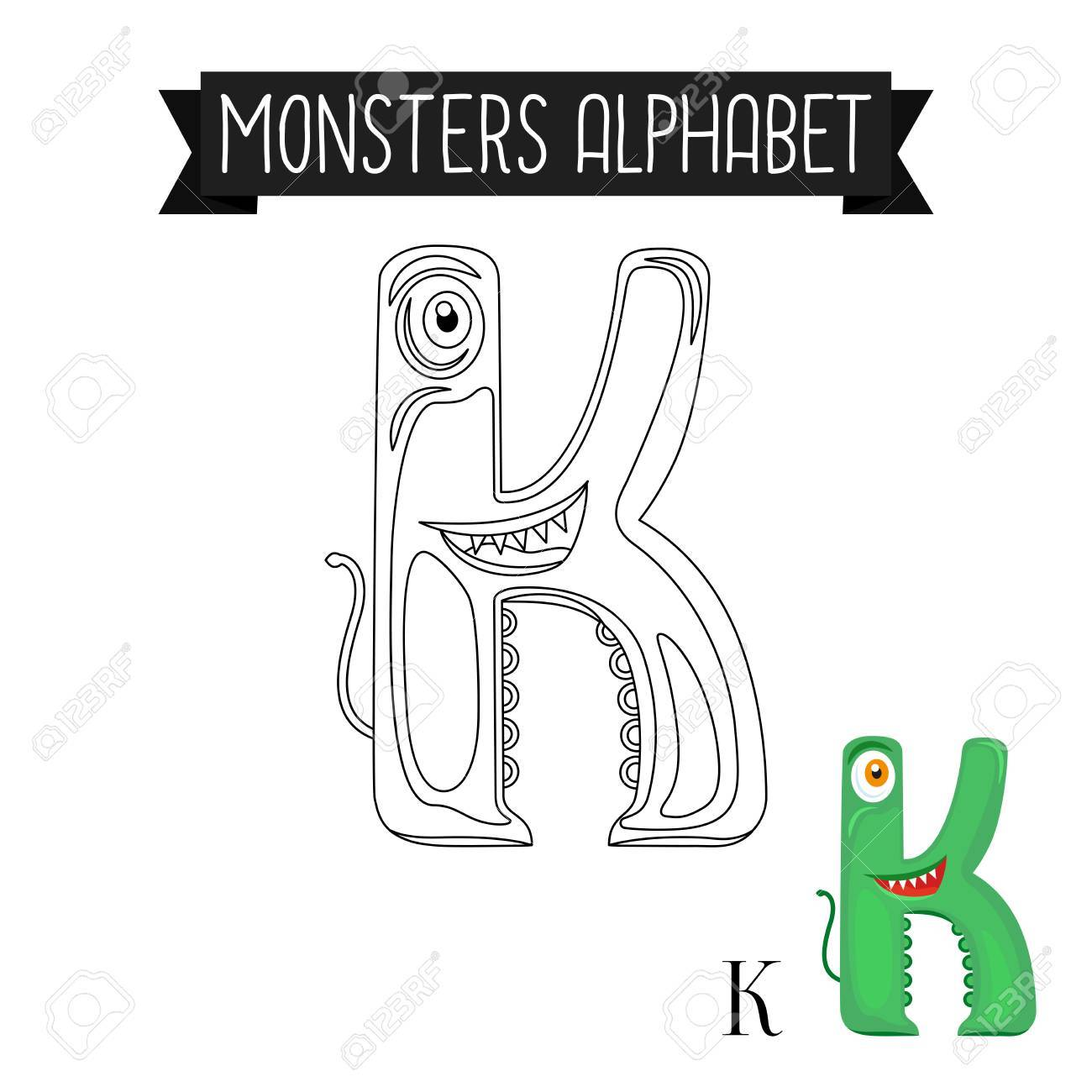 Coloring Page Monsters Alphabet For Kids. Letter K Vector ...