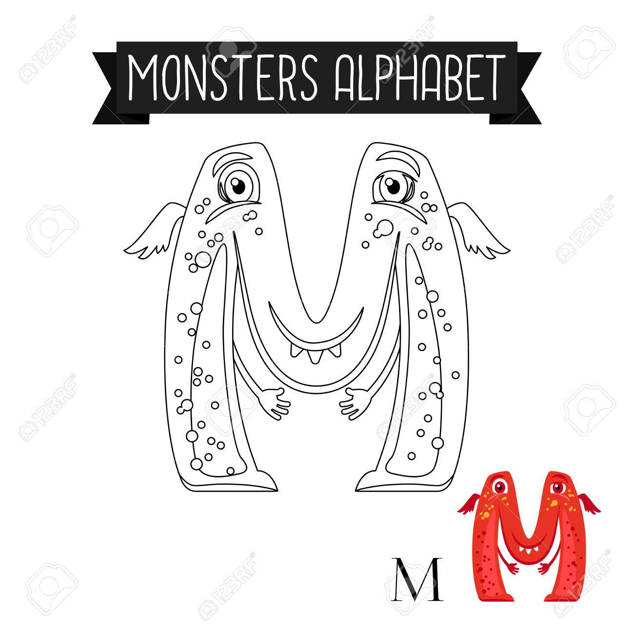 Coloring Page Monsters Alphabet For Kids. Letter M Vector ...
