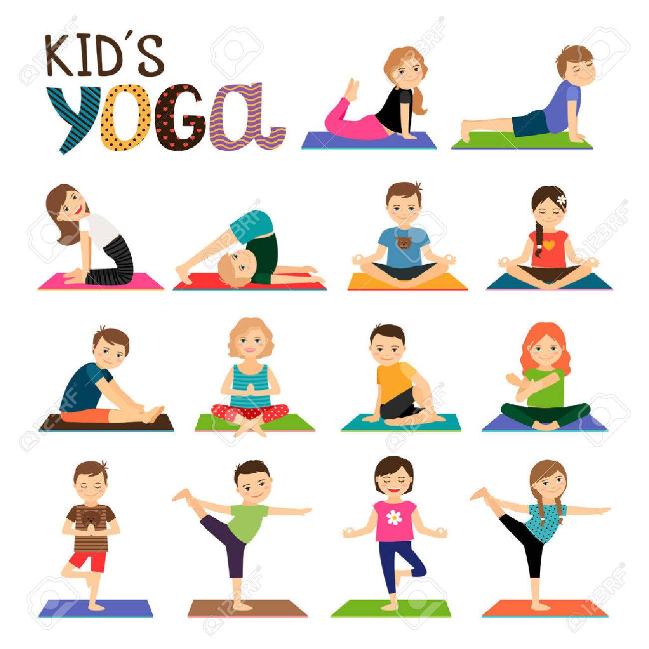 Kids Yoga Vector Icons Set Smiling Children In Different Poses Collection On White Background
