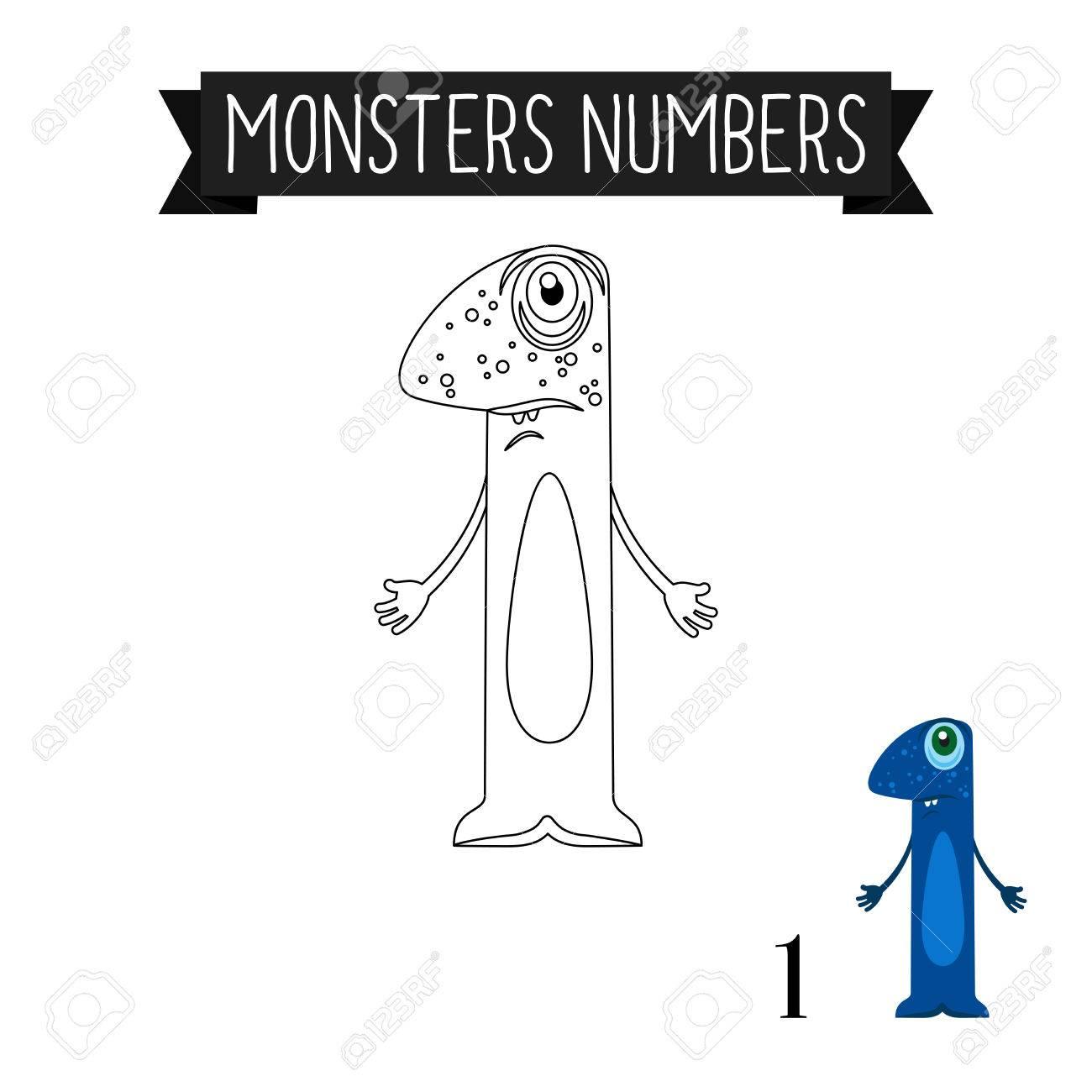 Dibujo Para Colorear Monstruos Numeros Para Ninos Numero 1