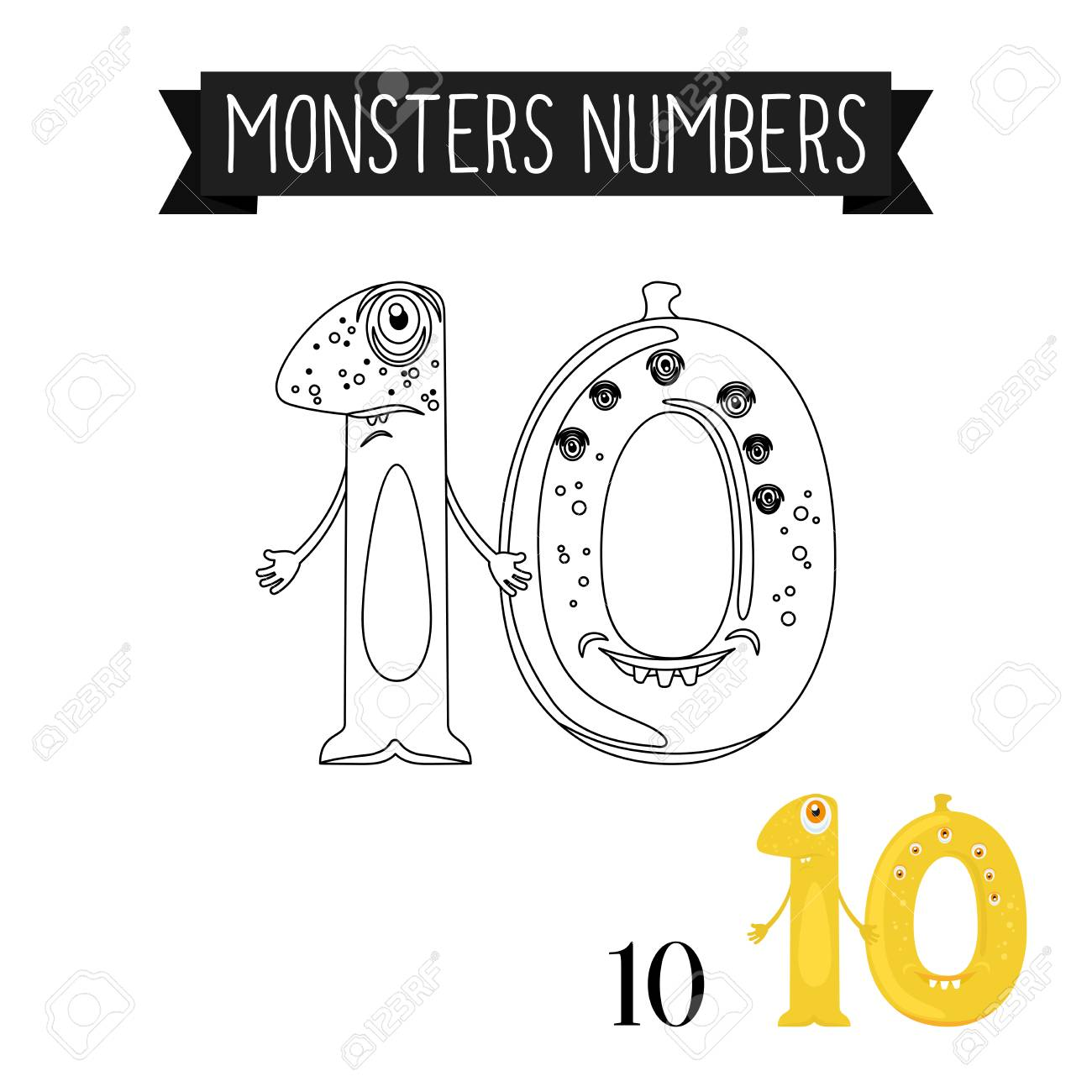 coloring page monsters numbers for kids number 10 vector illustration stock vector 67054534 - Number 10 Coloring Page