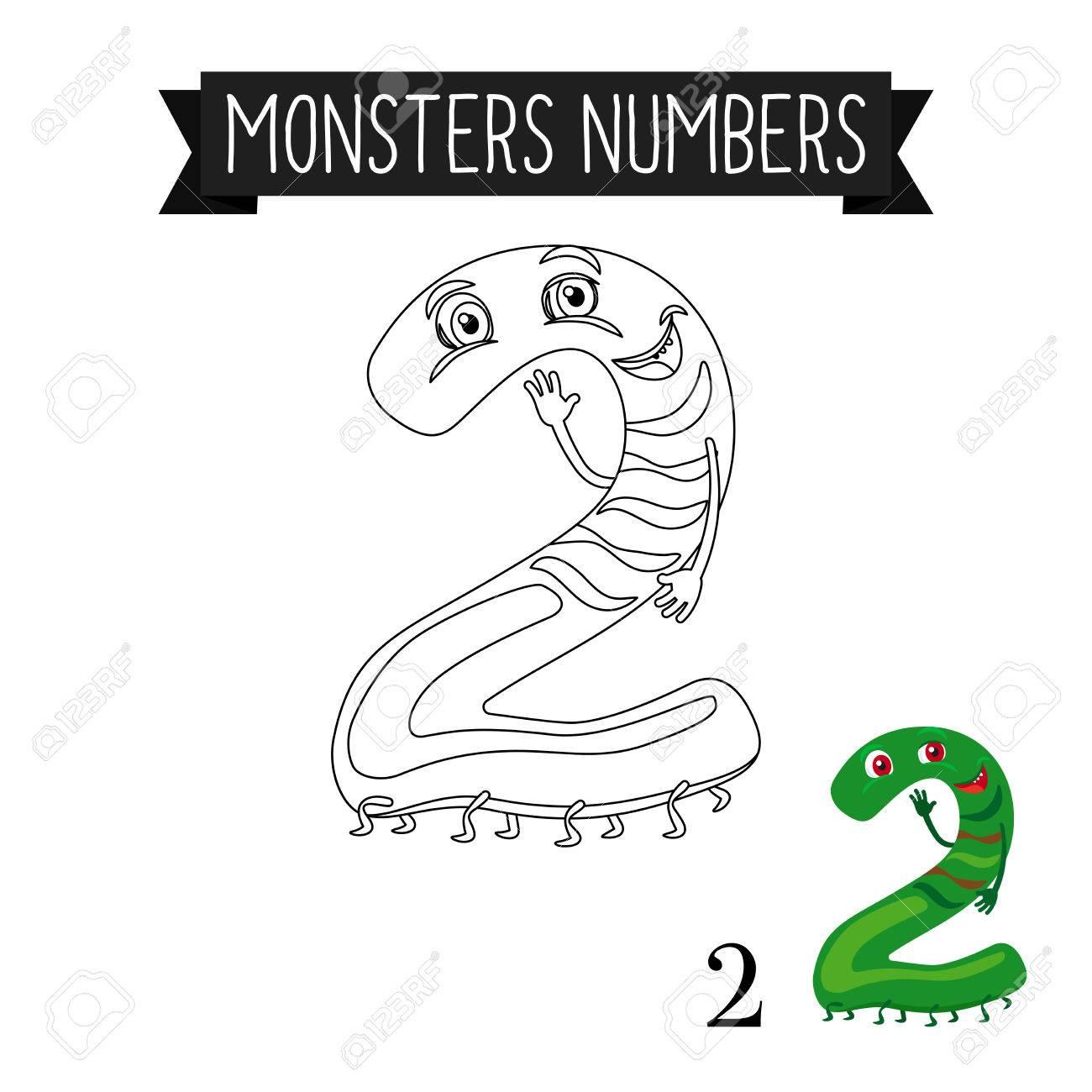 Malvorlage Monster Zahlen Für Kinder. Nummer 2 Vektor-Illustration ...