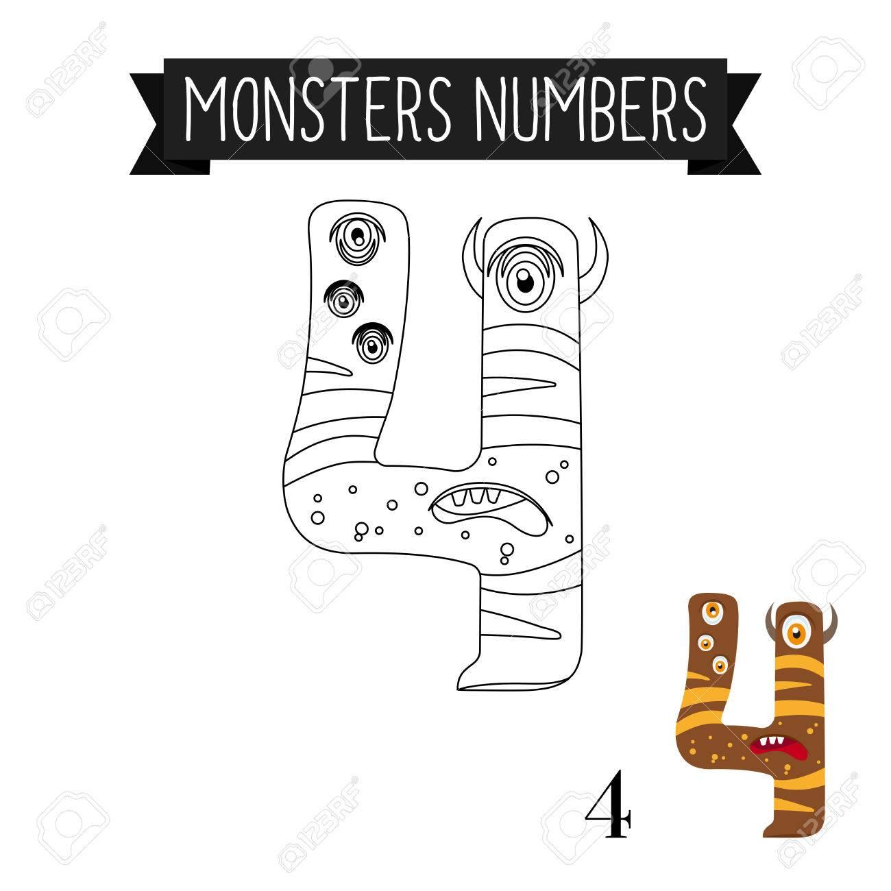 Dibujo Para Colorear Números De Monstruos Para Los Niños Número