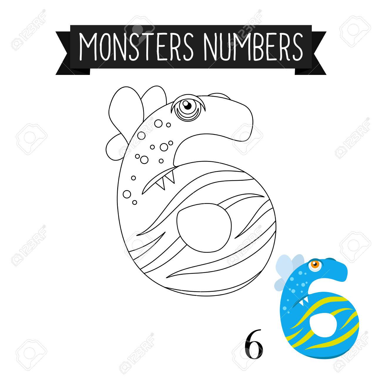 Coloring Page Monsters Numbers For Kids Number 6 Vector