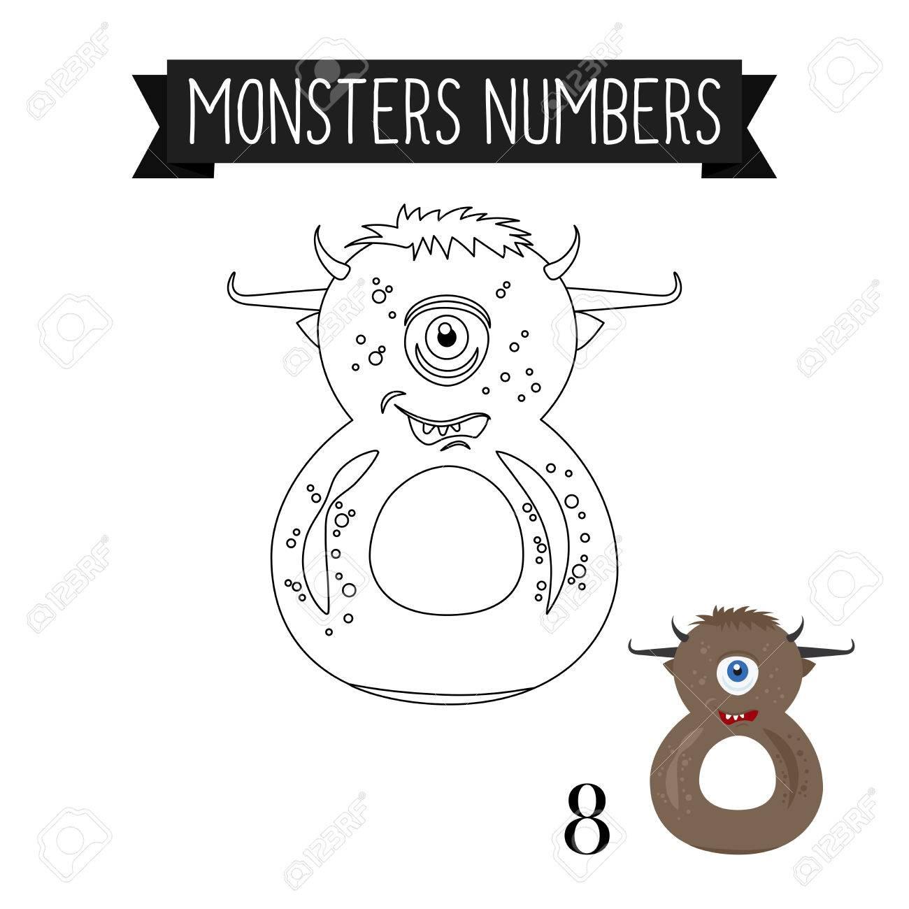 Dibujo Para Colorear Monstruos Números Para Niños. Número 8 ...
