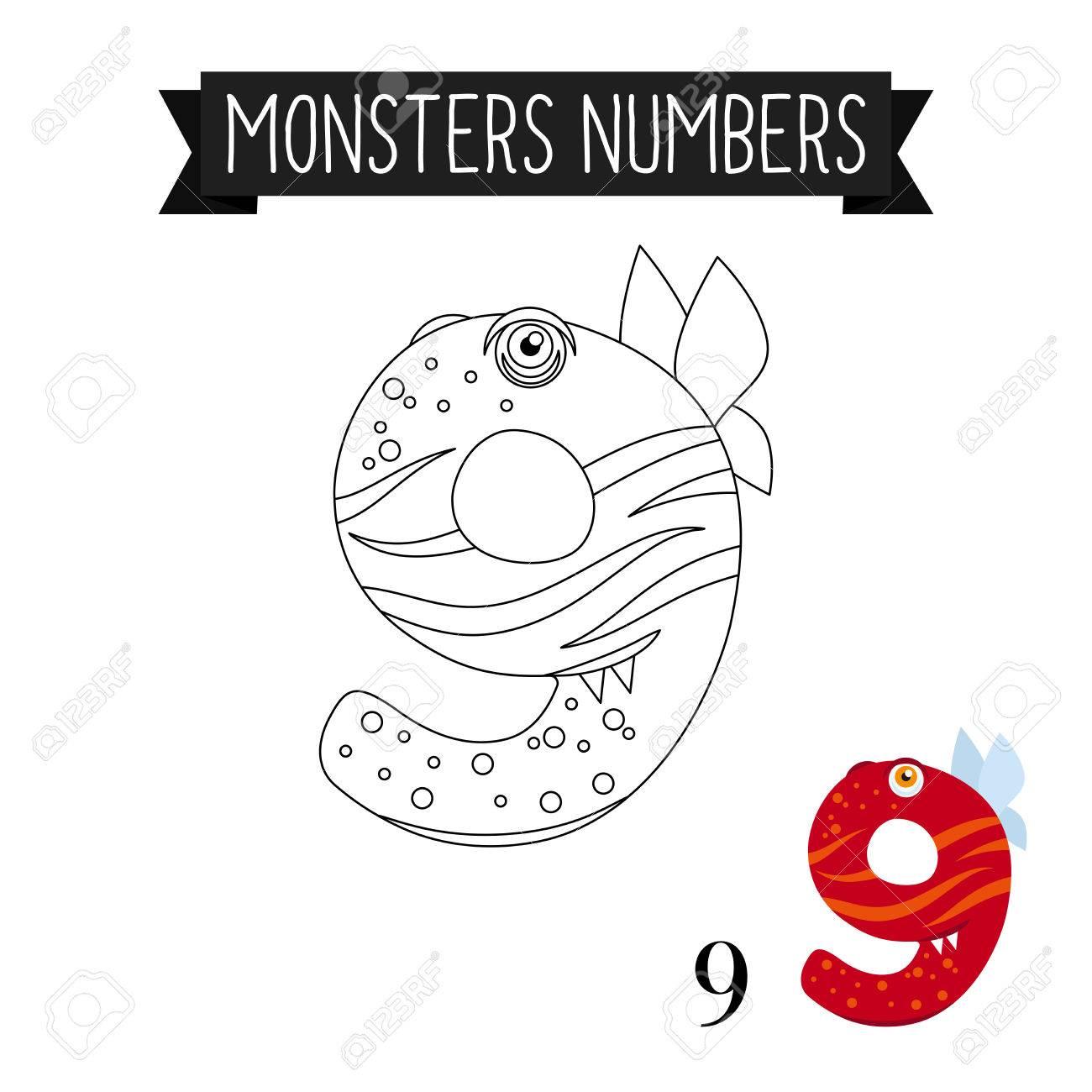 Dibujo Para Colorear Monstruos Números Para Niños Número 9 Ilustración Vectorial