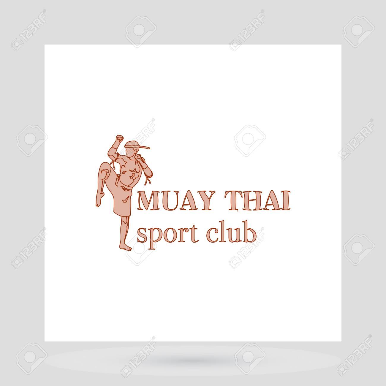 Muay Thai Fight Club Logo Design Presentation With Man Symbol