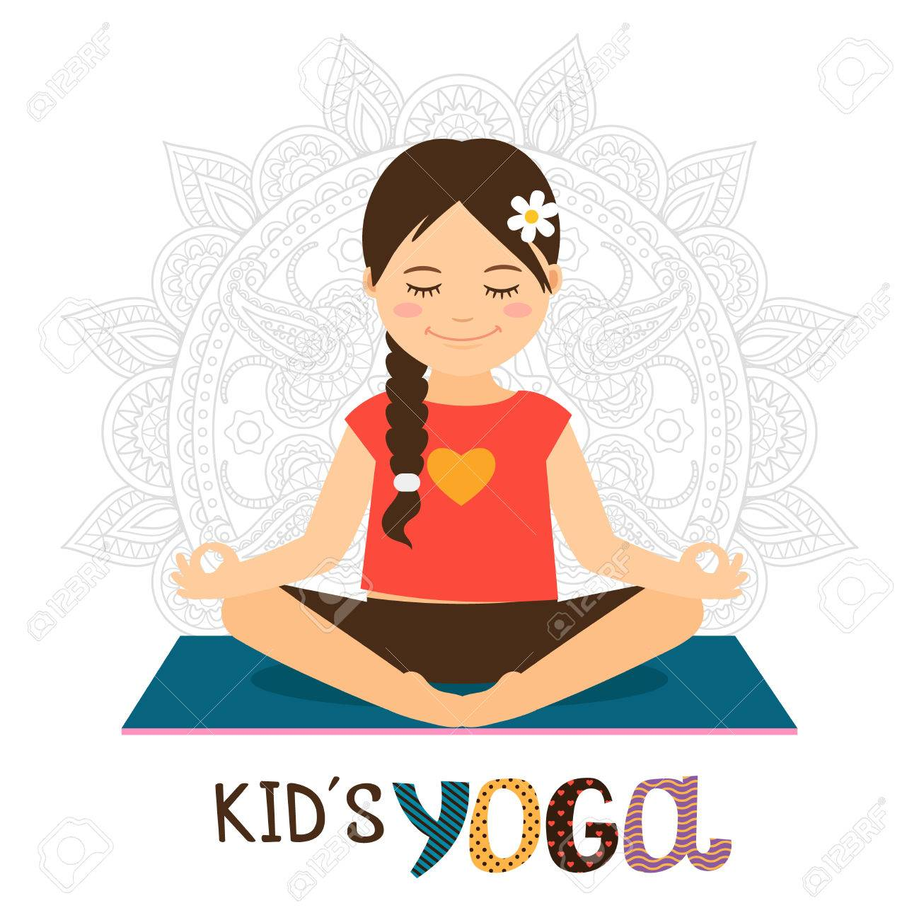Kids yoga vector illustration with beautiful girl in lotus pose - 67526638