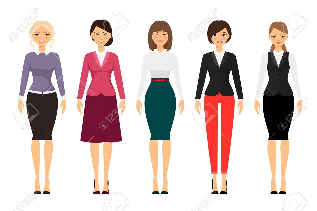 Women in office clothes on white background. Dress code vector..
