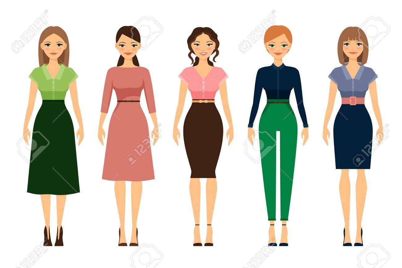 Vector , Women dress code romantic style icons on white background. Vector  illustration