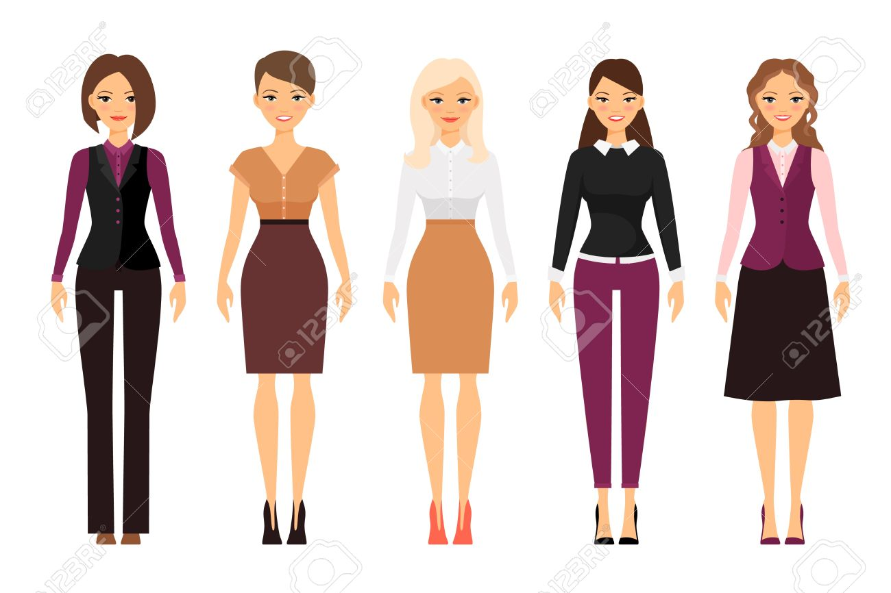 Women in office dress code in violet and beige colors on white..