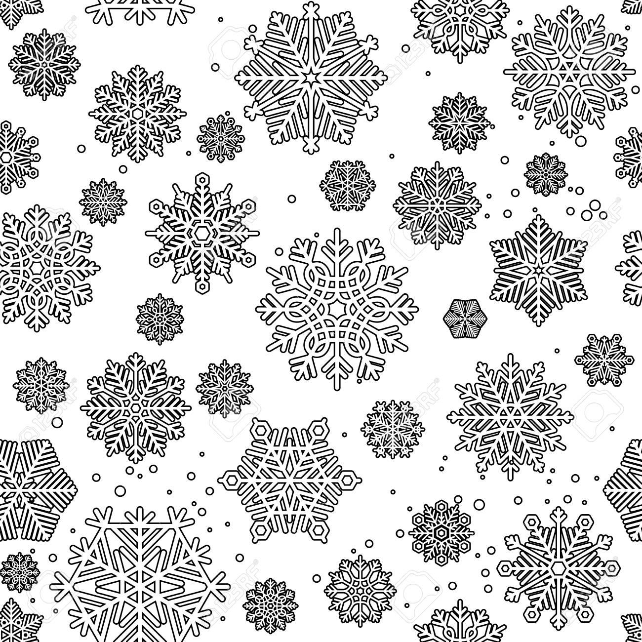 Modelo Inconsútil De Color Negro Mono Para Colorear El Diseño Con Los Copos De Nieve Ilustración Vectorial