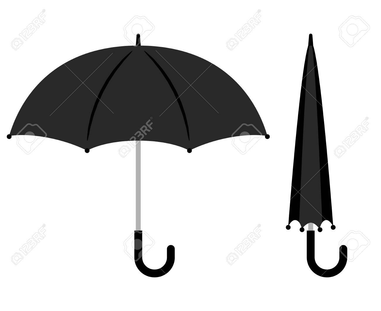 a181fc91c Open and folded black umbrella icons on white background. Vector  illustration Stock Vector - 69295208