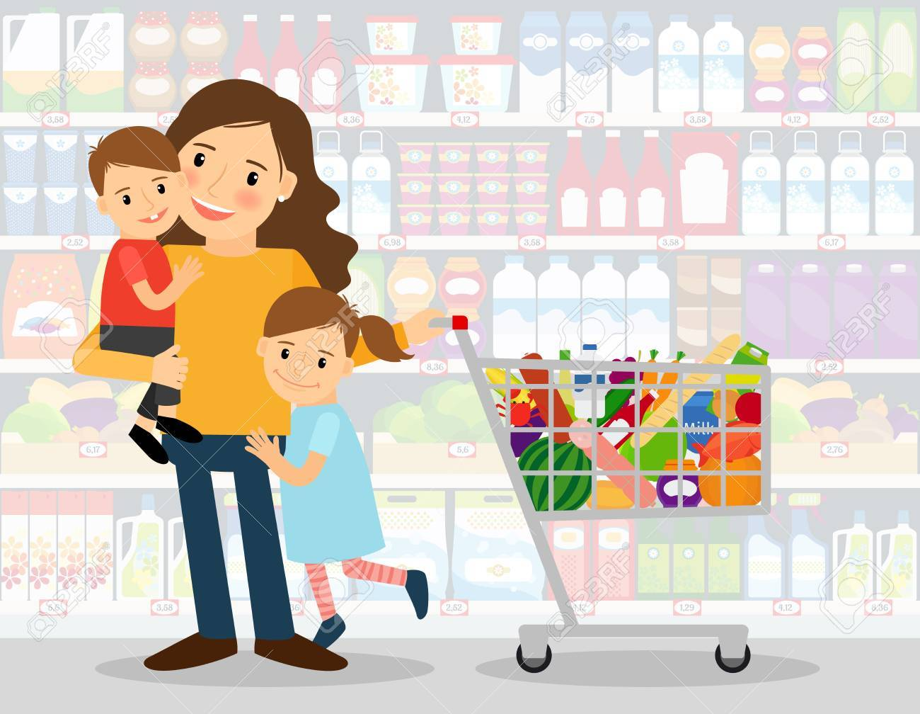 Woman in supermarket with two young kids and shopping cart full of groceries. vector illustration - 69295205