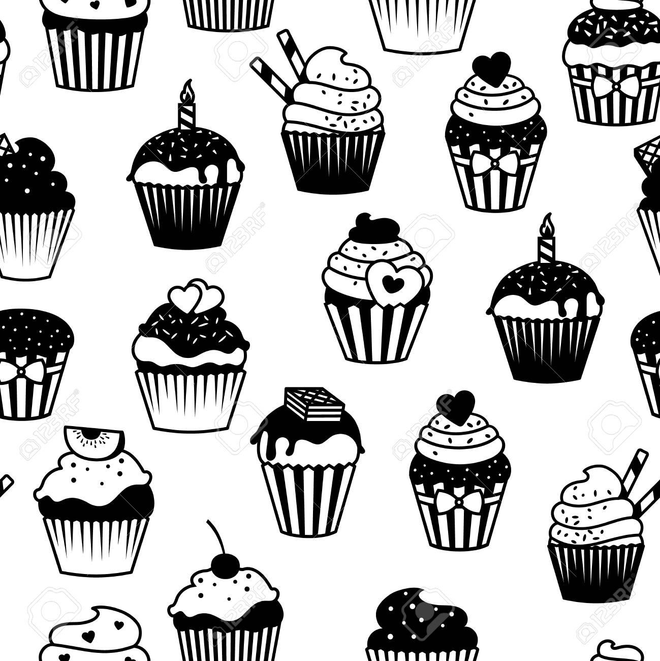 Modèle Sans Couture De Cupcakes Noir Et Blanc Impression De Tissu De Muffins De Vecteur