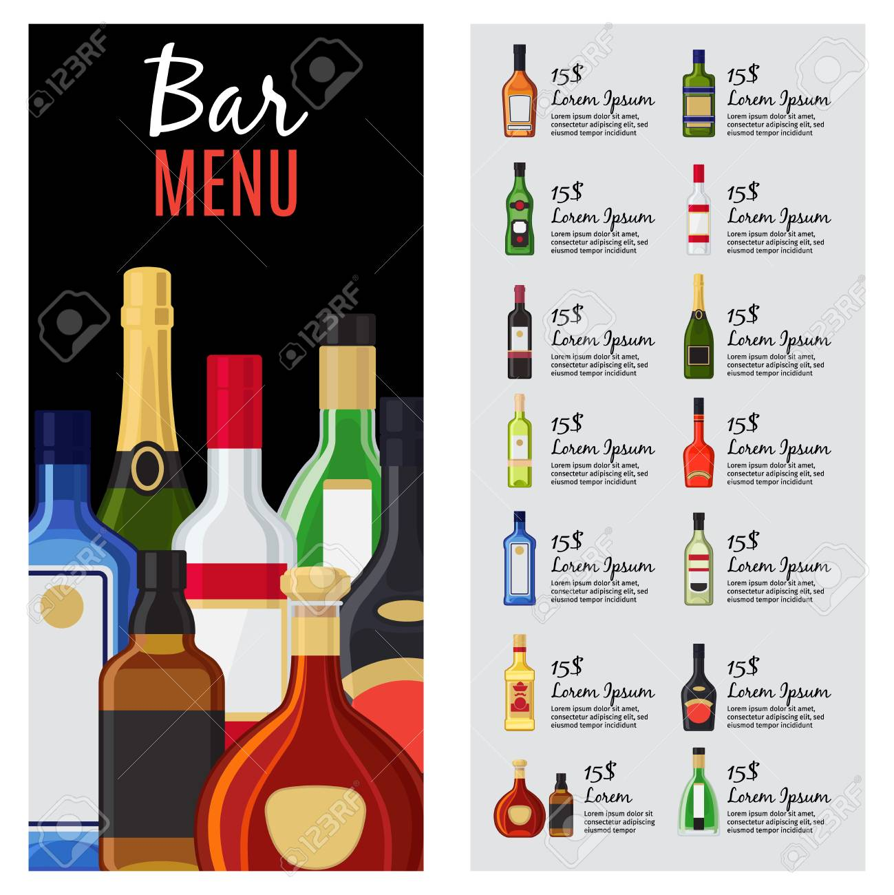 Alcohol Drinks Menu Template For Bar And Restaurant With Bottles,  Description And Prices. Vector  Drinks Menu Template