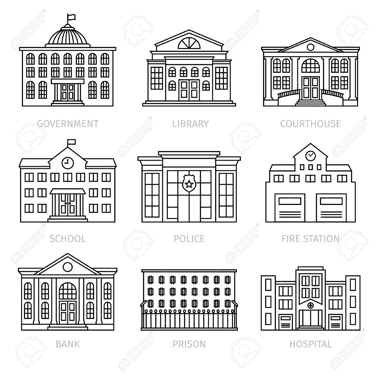 education and government buildings thin line icons.school, library