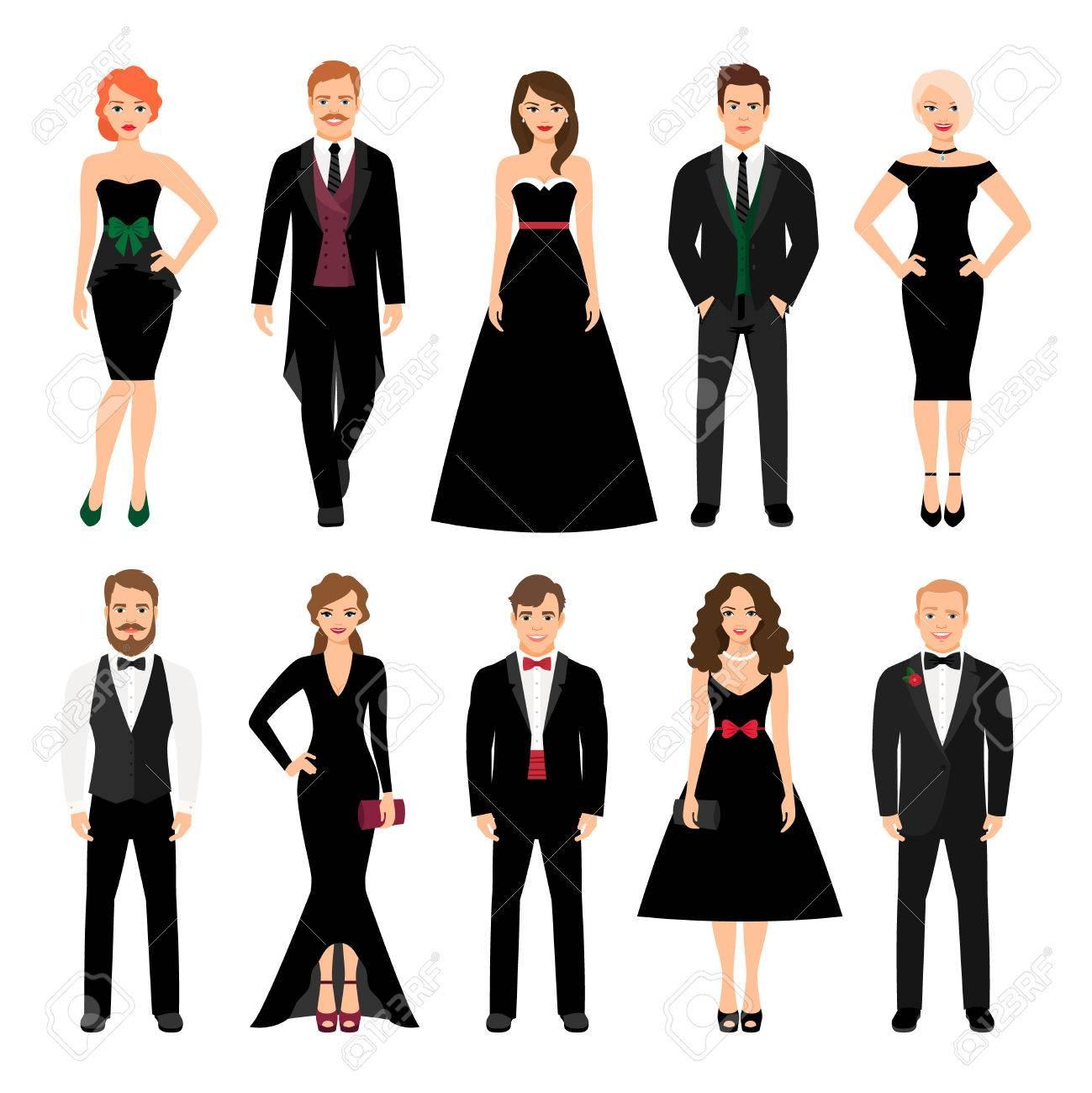 Ilustración Vectorial De La Moda La Gente Elegante Hombres En Trajes De Etiqueta Y Mujeres En Vestidos De Noche Negros Aislados En El Fondo Blanco