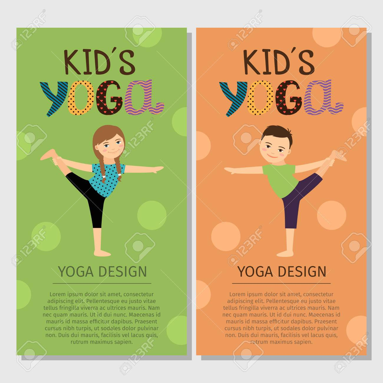 Yoga Kids Vertical Flyer Design With Girl And Boy Vector