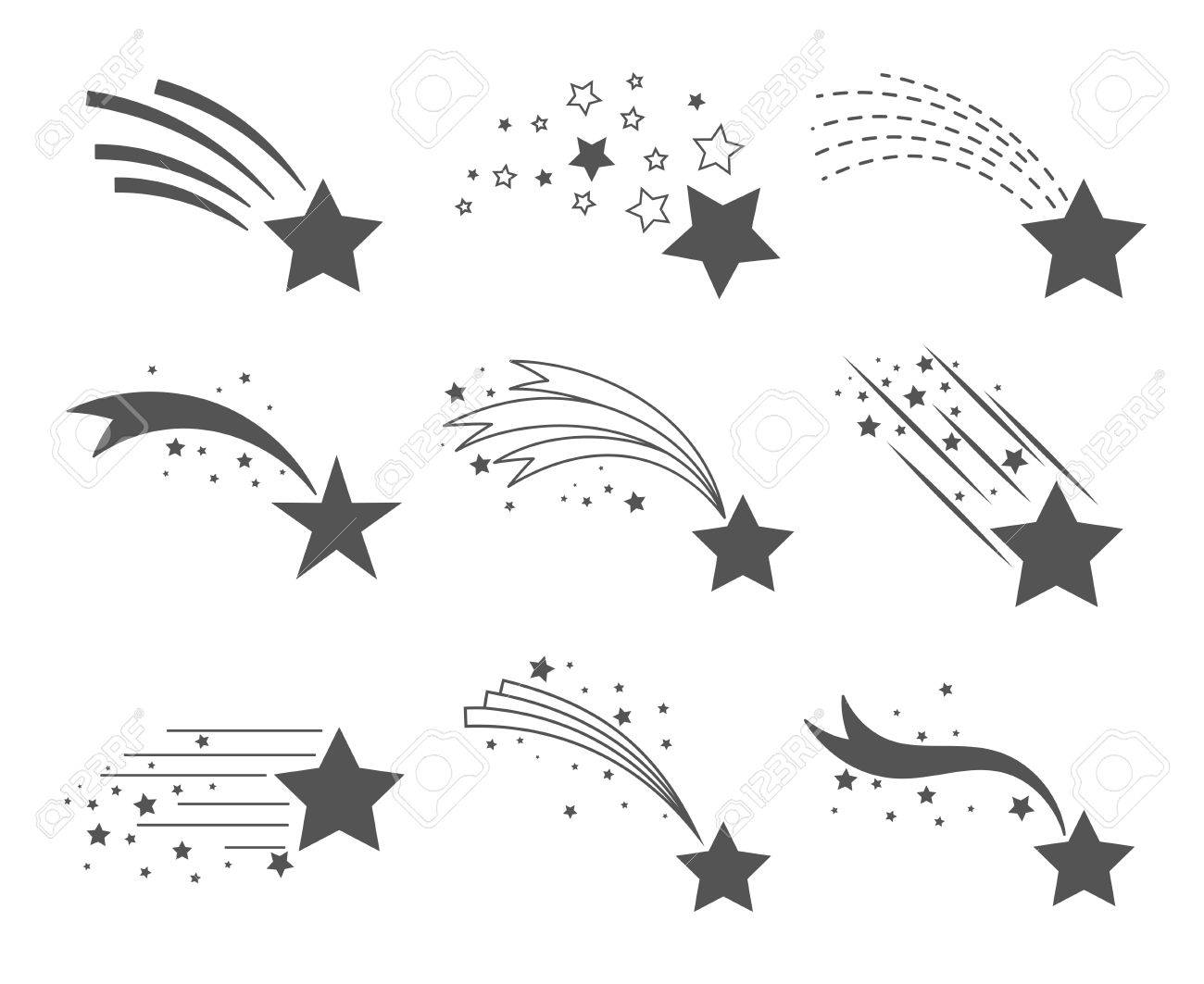 Shooting stars icons. Comet tail or star trail vector set isolated on white background. Stardust falling simple meteorites - 76597330