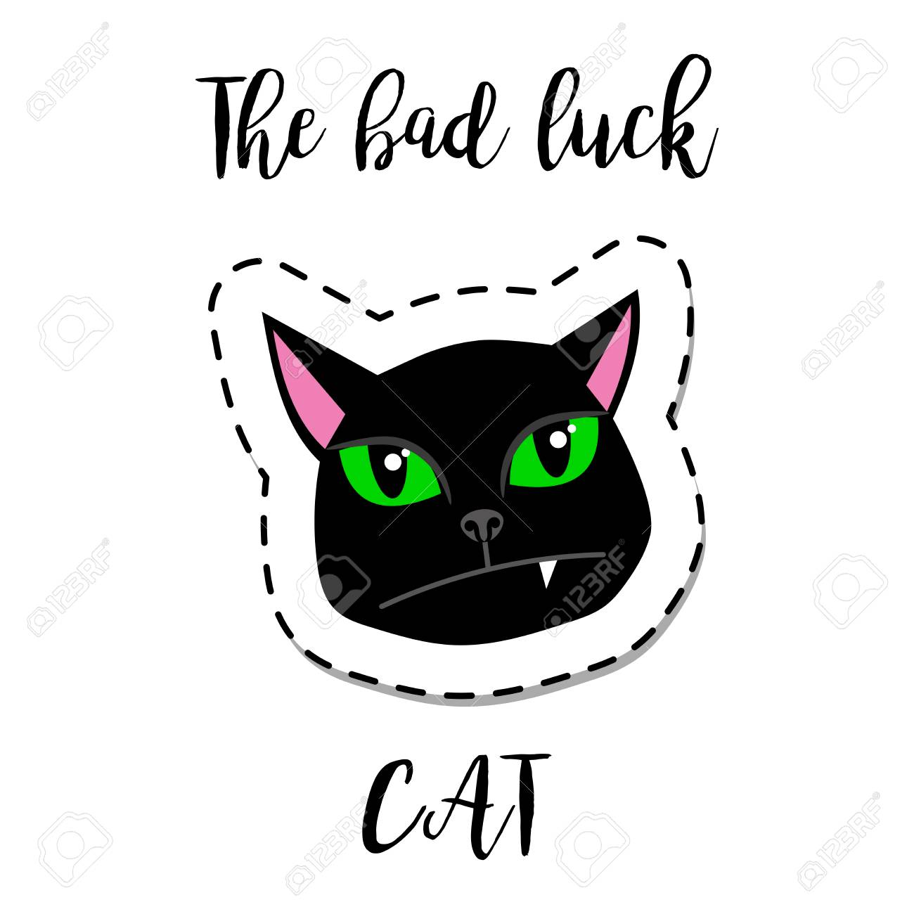Cat Stock Quote Fashion Patch Element With Quote The Bad Luck Catblack Cat