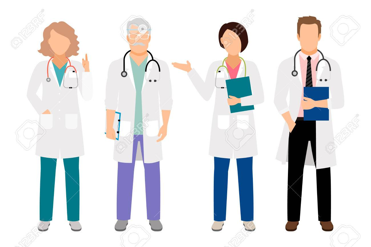 People In White Coats Vector Illustration. Full Body Standing ...